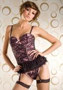 Victorian Lace 2pc Bustier-hot Pnk-s