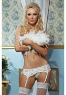 Lace Affairs Garter Belt White S/m