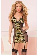 Commander In Chic-chemise And Thong-camo-o