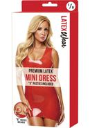 Premium Latex Mini Dress-red-s/m